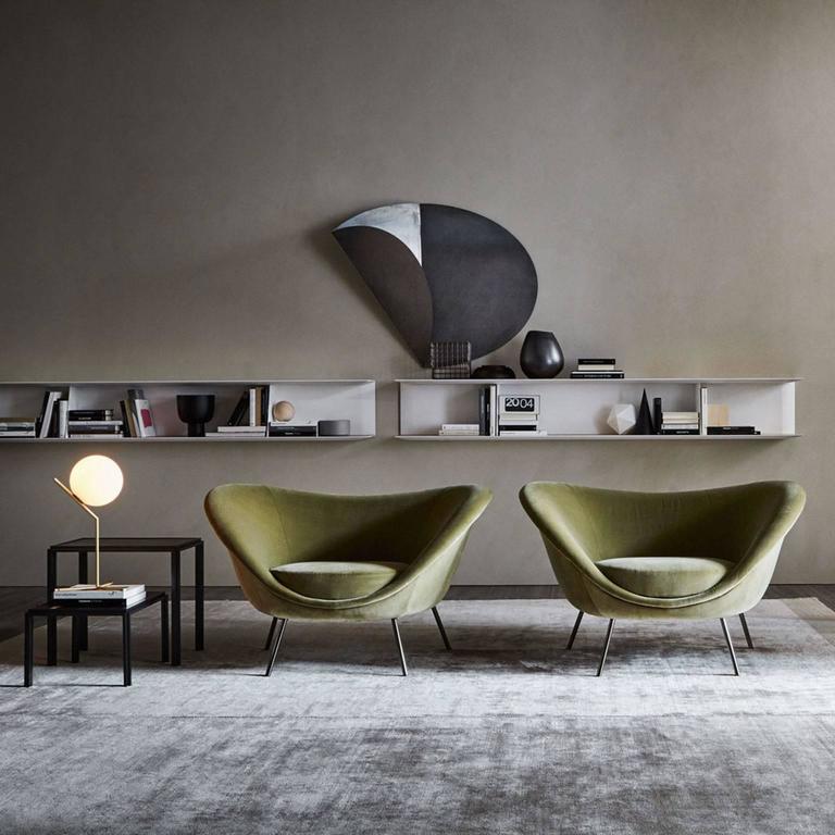 Italian Molteni Gio Ponti D.154.2 Armchair in Velvet For Sale