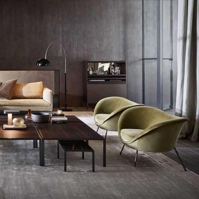Contemporary Molteni Gio Ponti D.154.2 Armchair in Velvet For Sale