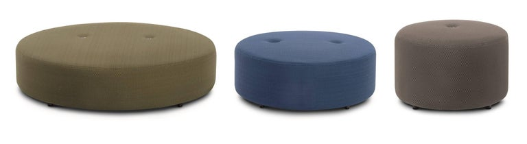 """Overview: Double is an articulated and """"total outdoor"""" seating system designed to recreate in the outside the sensation of relaxing and the exclusive atmosphere of an indoor living space. Pouf is a very crossed-over complementary item, used to"""