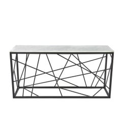 Nest Console von Morgan Layhall, Skulpturale Konsole, Stahl und Marmor Tisch