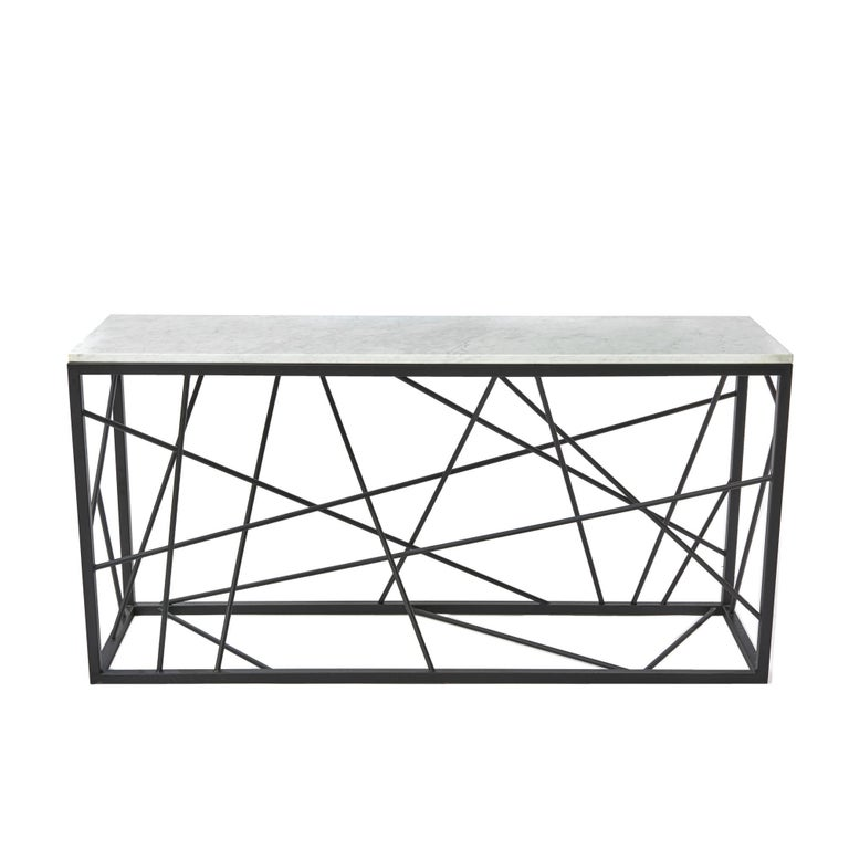 Nest Console by Morgan Clayhall, Sculptural Console, Steel and Marble Table