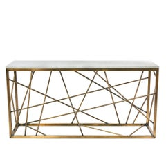 Antique Brass Nest Console, Steel and Marble Table by Morgan Clayhall