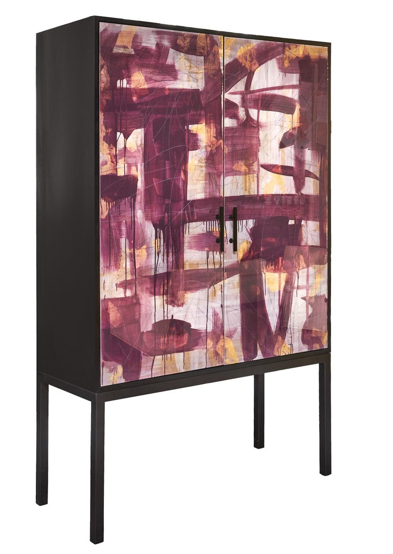 Canadian Pratt Armoire, Hand-Painted Art Door Cabinet by Morgan Clayhall For Sale