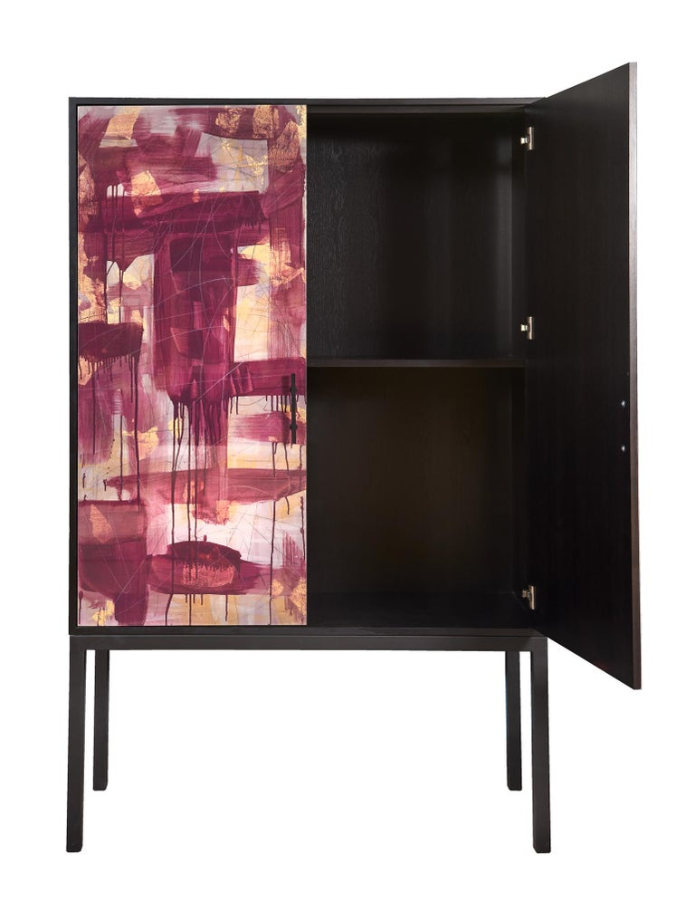 Powder-Coated Pratt Armoire, Hand-Painted Art Door Cabinet by Morgan Clayhall For Sale