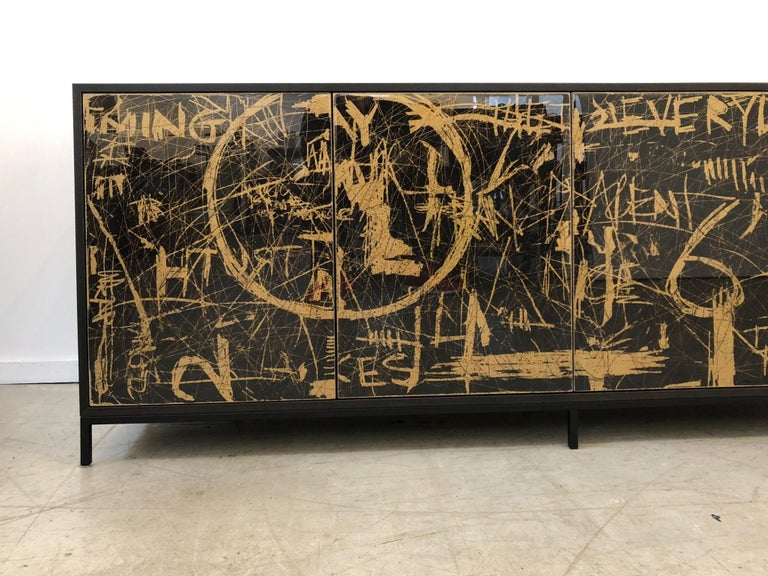 Powder-Coated Duncan Credenza, Hand Painted Art Door Cabinet by Morgan Clayhall For Sale