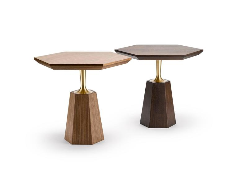 Contemporary Hex Occasional Table in Oak or Walnut and Machined Brass For Sale 1
