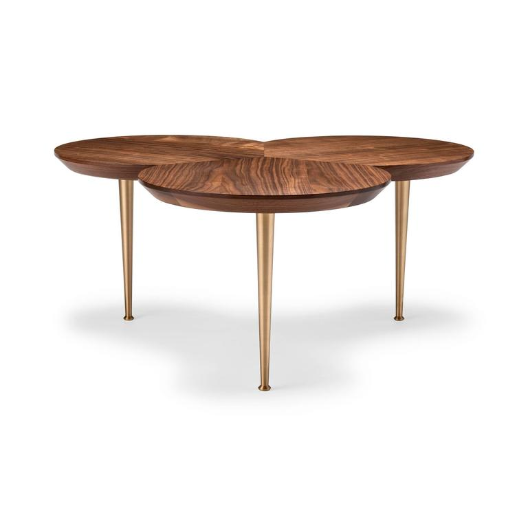 Coffee Table Stem in Walnut and Machine Turned Solid Brass by Stuart Scott, 2017 2