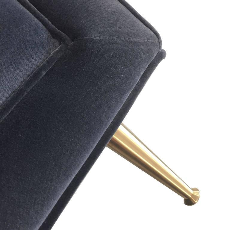 Sofa Fleure in Granite Grey Cotton Velvet with Solid Brass Legs by Stuart Scott  3