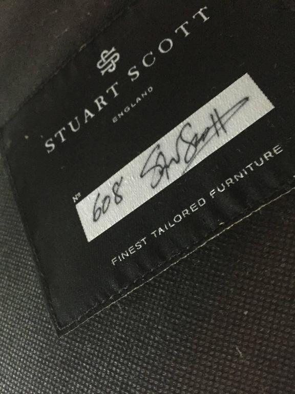 Sofa Fleure in Granite Grey Cotton Velvet with Solid Brass Legs by Stuart Scott  7
