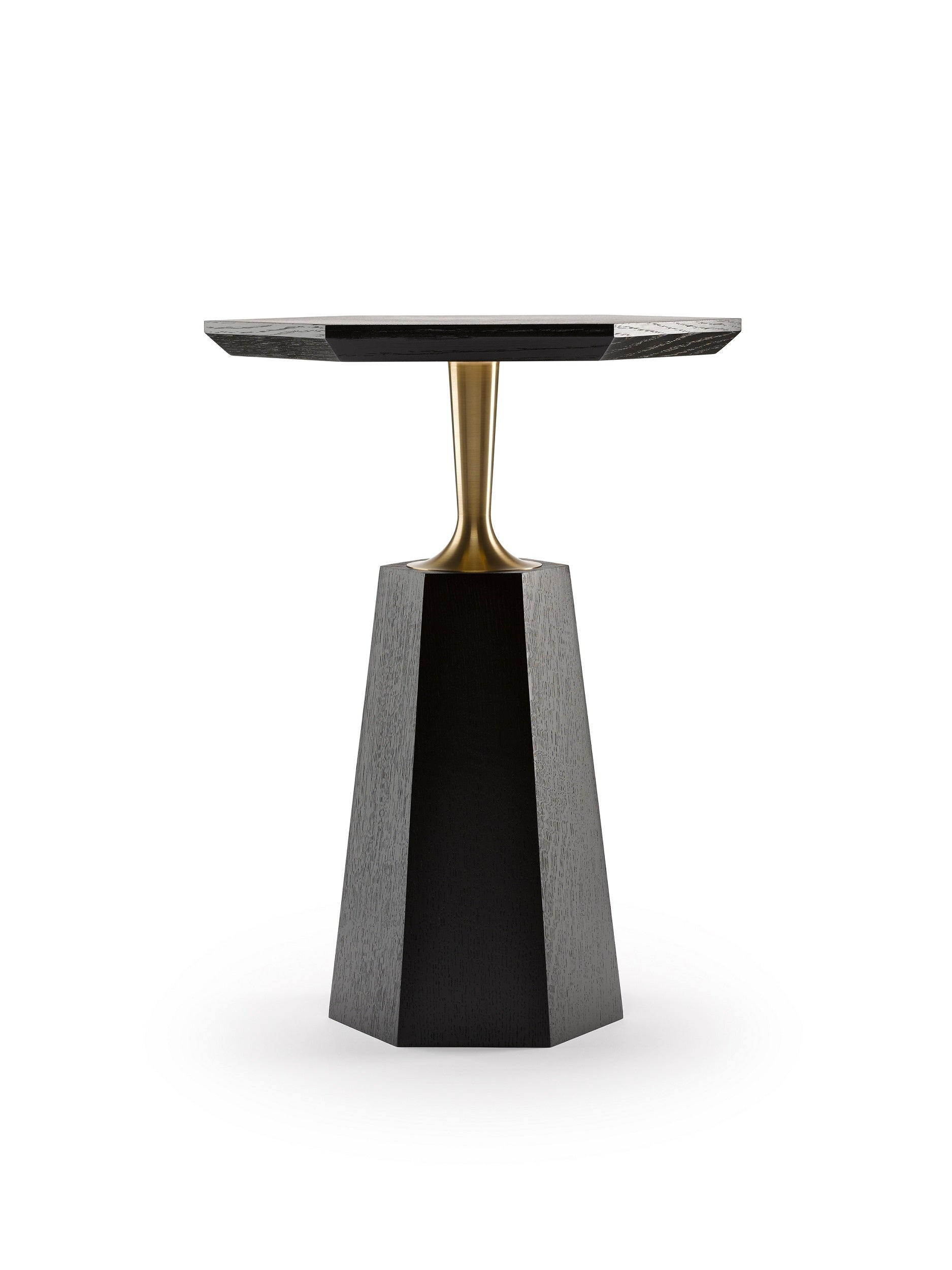 Ordinaire Contemporary Hex Side Table In Oak Or Walnut With Machined Brass For Sale  At 1stdibs