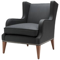 Contemporary Alae Lounge Chair in Grey Wool with Walnut Legs and Nickel Nails