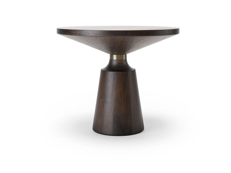 Modern Contemporary Nicole Occasional Table in Oak or Walnut with Machined Metal Collar For Sale