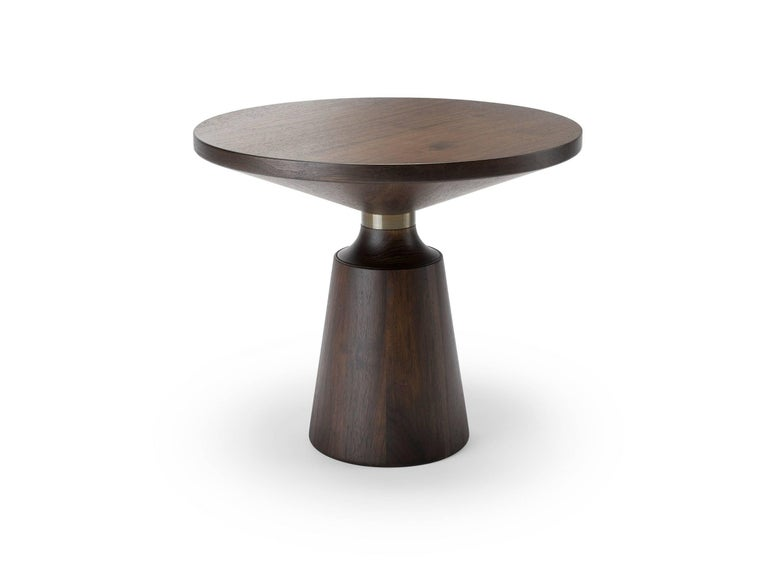 English Contemporary Nicole Occasional Table in Oak or Walnut with Machined Metal Collar For Sale