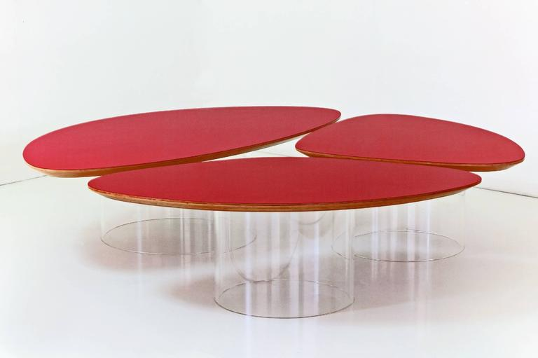 Janette Laverriere 'Nenuphar' Contemporary Red Coffee Table 2