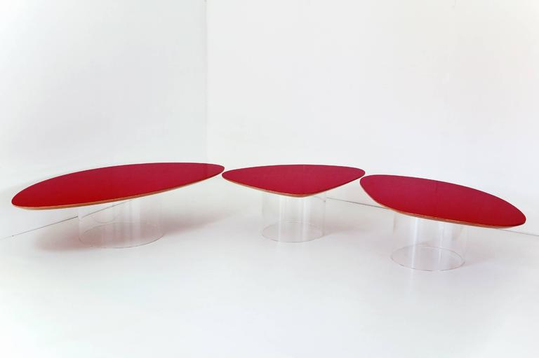 Janette Laverriere 'Nenuphar' Contemporary Red Coffee Table 4