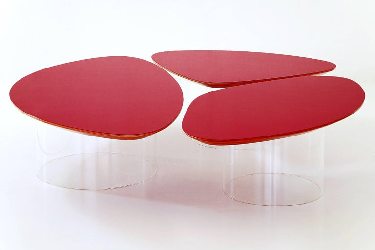 Janette Laverriere 'Nenuphar' Contemporary Red Coffee Table 5