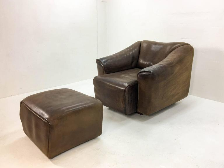 Late 20th Century 1970s De Sede Lounge Chair with Ottoman For Sale