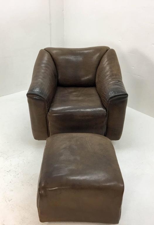 1970s De Sede Lounge Chair with Ottoman For Sale 1