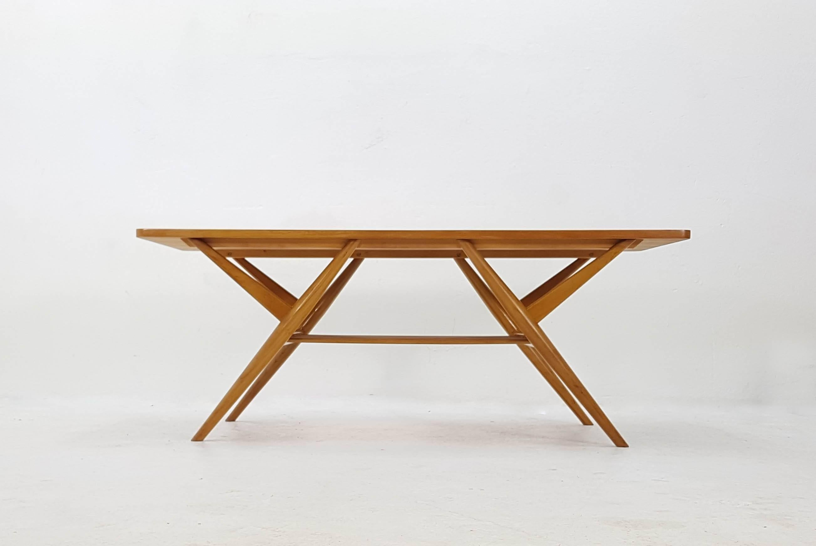 Superbe Gelderland Dutch 1950s Birch Coffee Table. Very Rare Coffee Table .Made In  The Netherlands