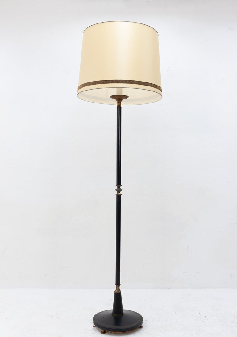 Classic floor lamp in leather and brass 1960s for sale at 1stdibs american empire classic floor lamp in leather and brass 1960s for sale aloadofball Choice Image