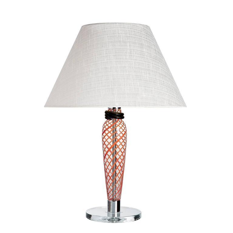 Bricola Carlo Moretti Contemporary Black, Red and Clear Murano Glass Able Lamp