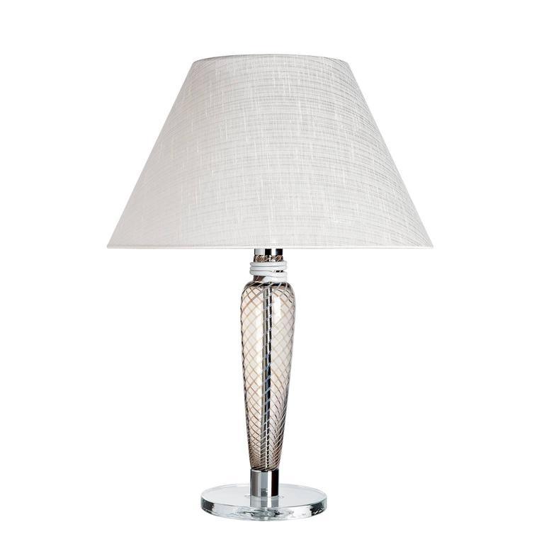 Bricola Carlo Moretti Contemporary Mouth Blown Murano Grey Glass Table Lamp