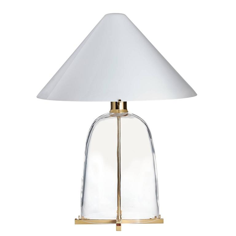 Ovale Carlo Moretti Contemporary Mouth Blown Murano Clear Glass Table Lamp