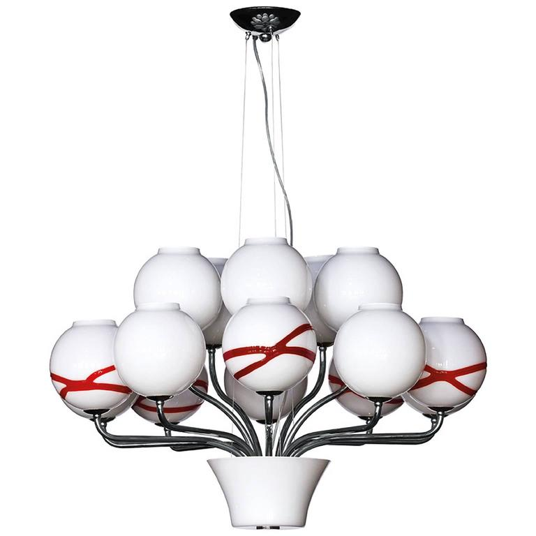 Boblu Carlo Moretti Contemporary Mouth Blown Murano Glass Chandelier For Sale