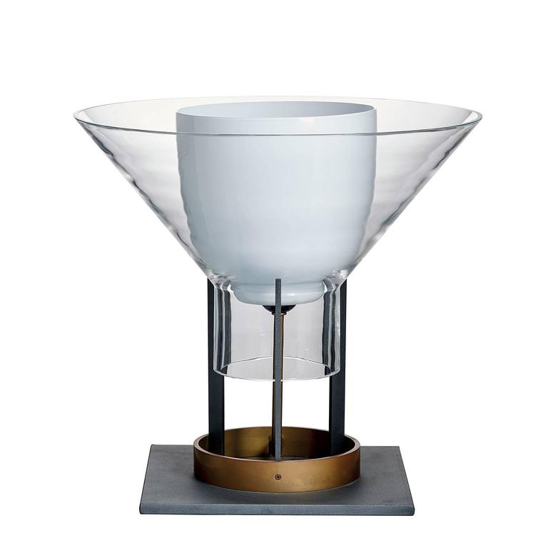 Igra Carlo Moretti Contemporary Mouth Blown Murano Clear Glass Table Lamp