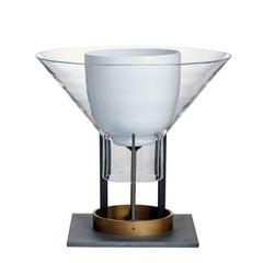Igra Carlo Moretti Contemporary Mouth Blown Murano Clear Glass Table Lamp