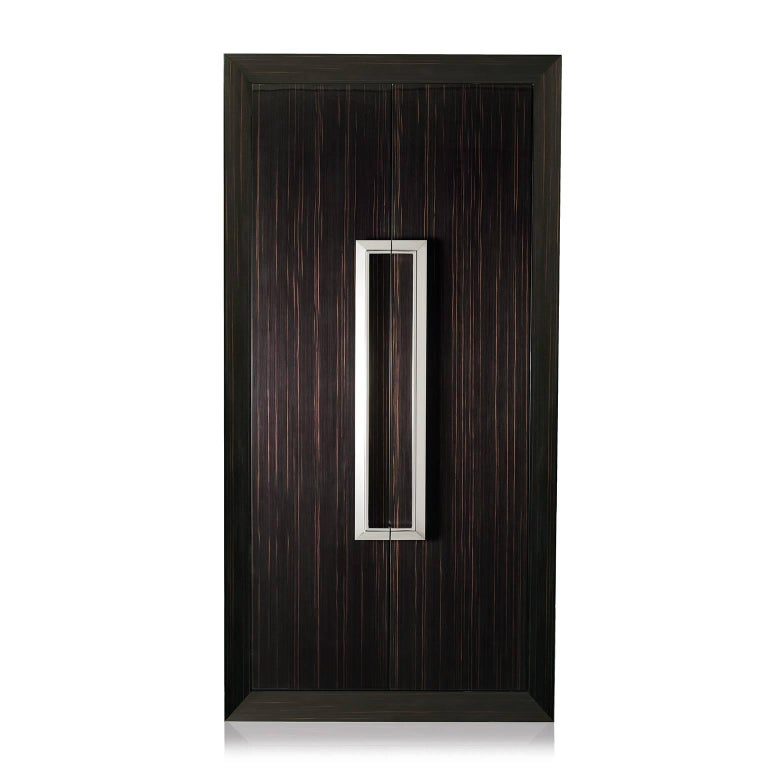 Tempo Assoluto is contemporary and luxurious armoire safe in polished ebony with safe, anchorable to the wall.  Biometric opening device and emergency key system. Watch winders entirely made in Switzerland. Secret compartment, inside lined in