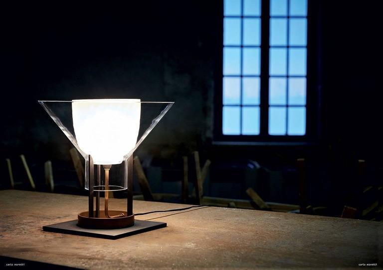 Modern Igra Carlo Moretti Contemporary Mouth Blown Murano Clear Glass Table Lamp For Sale