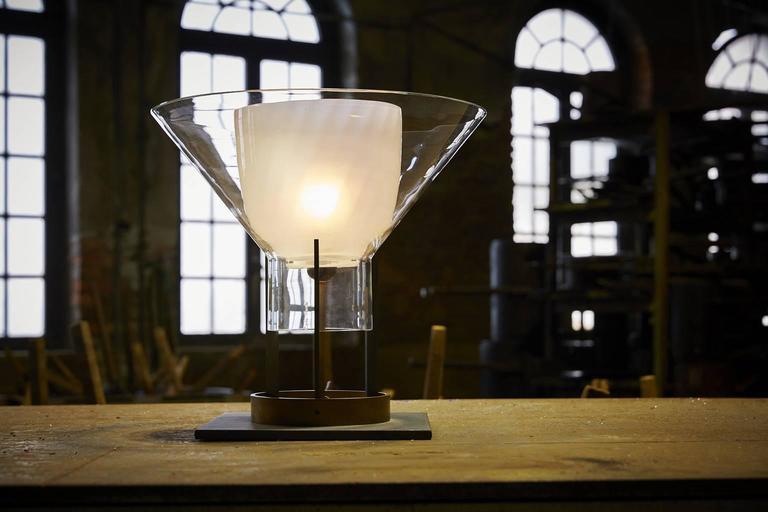 Italian Igra Carlo Moretti Contemporary Mouth Blown Murano Clear Glass Table Lamp For Sale