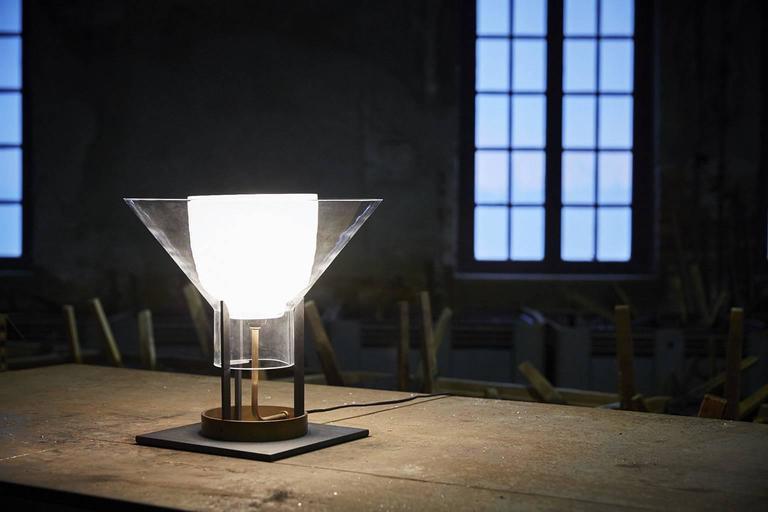 Brass Igra Carlo Moretti Contemporary Mouth Blown Murano Clear Glass Table Lamp For Sale