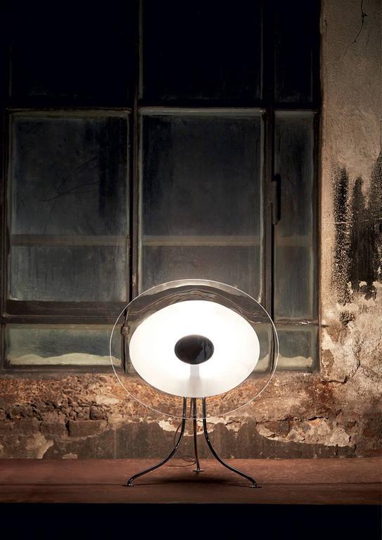 Modern Scudo Carlo Moretti Contemporary Murano Clear Glass Desk or Table Lamp For Sale
