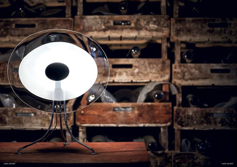 Italian Scudo Carlo Moretti Contemporary Murano Clear Glass Desk or Table Lamp For Sale