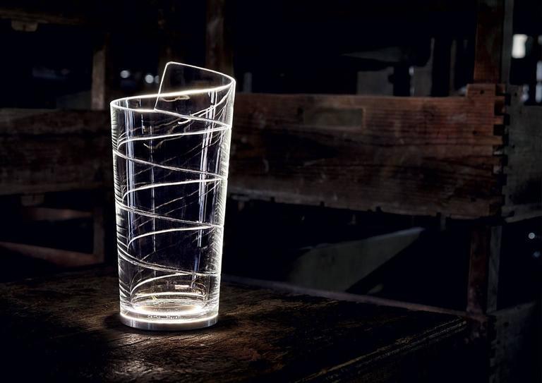 Modern Nastrino Carlo Moretti Contemporary Mouth Blown Murano Clear Glass Led Table Lam For Sale