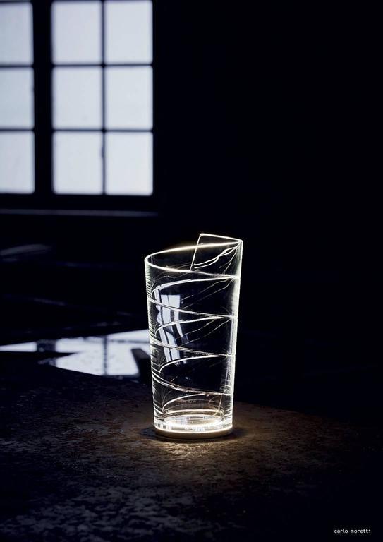 Italian Nastrino Carlo Moretti Contemporary Mouth Blown Murano Clear Glass Led Table Lam For Sale