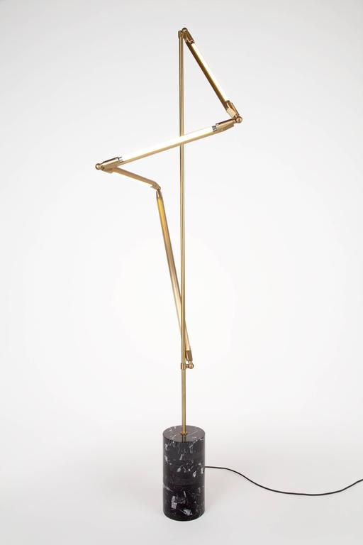 American Bec Brittain Helix Floor, Brass LED Floor Lamp with Marble Base For Sale