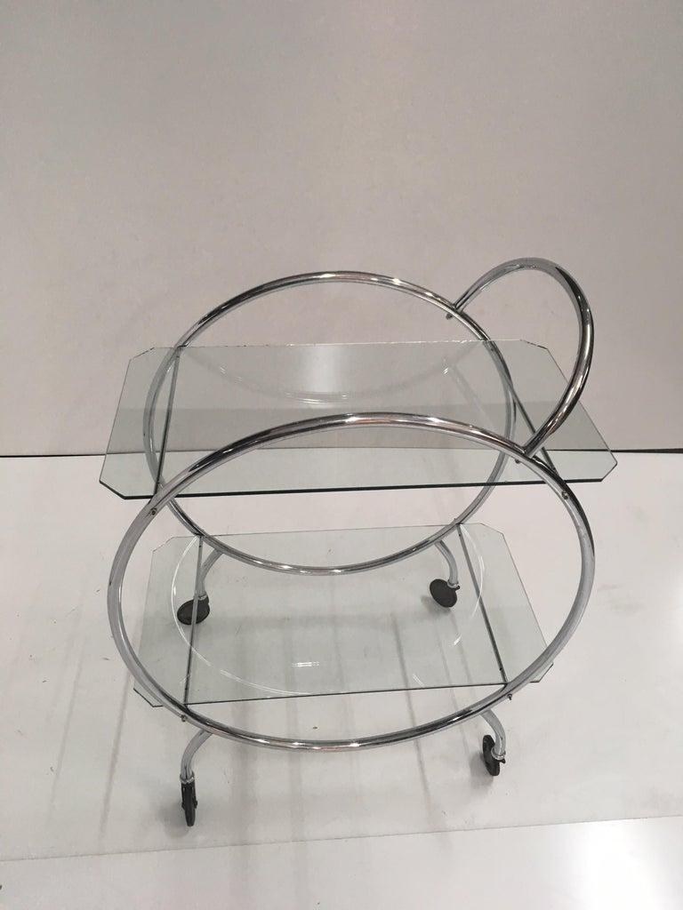 French Art Deco 1930s Tubular Chrome Bar Cart For Sale