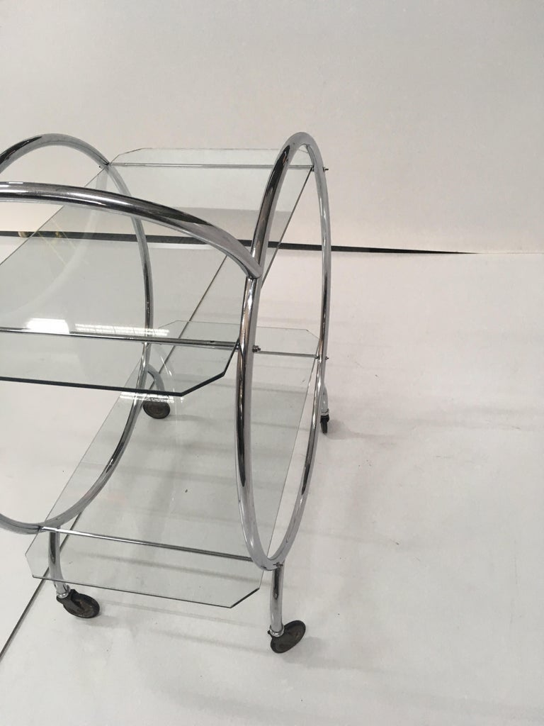 Art Deco 1930s Tubular Chrome Bar Cart In Good Condition For Sale In Melbourne, AU