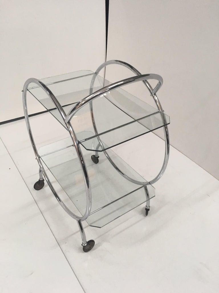 Mid-20th Century Art Deco 1930s Tubular Chrome Bar Cart For Sale