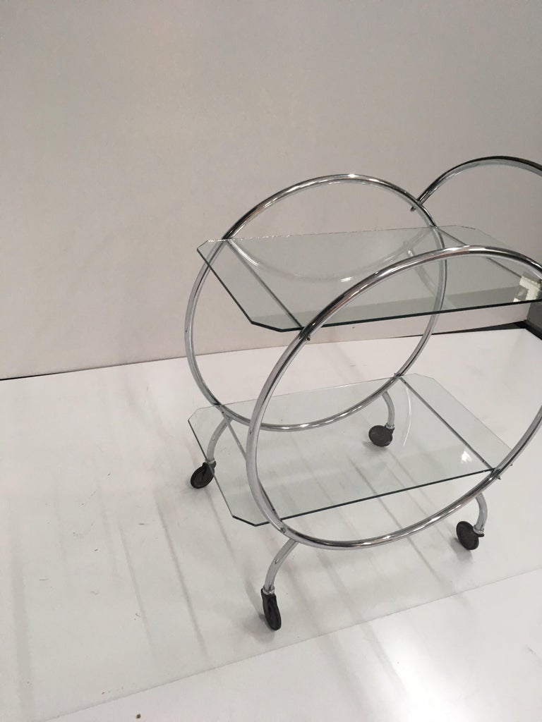 Glass Art Deco 1930s Tubular Chrome Bar Cart For Sale