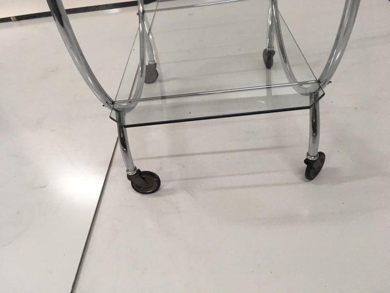 Art Deco 1930s Tubular Chrome Bar Cart For Sale 1