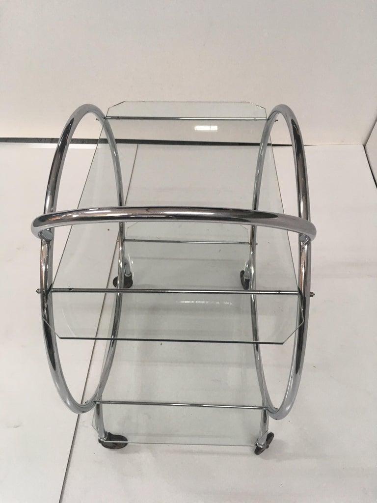 Art Deco 1930s Tubular Chrome Bar Cart For Sale 2