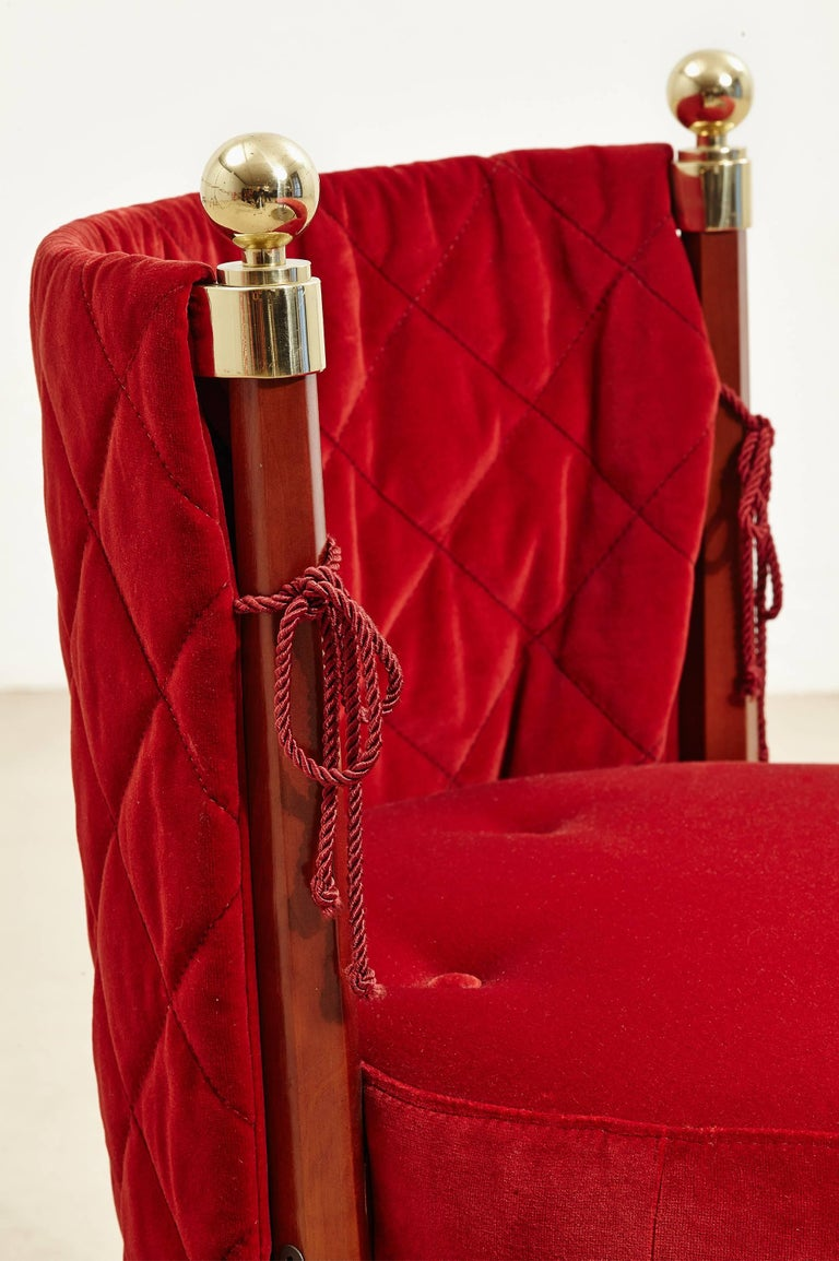 Three-Seat Red Velvet Bench by Jeannot Cerutti for Sawaya & Moroni, 1991 4