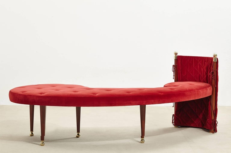 Three-Seat Red Velvet Bench by Jeannot Cerutti for Sawaya & Moroni, 1991 3