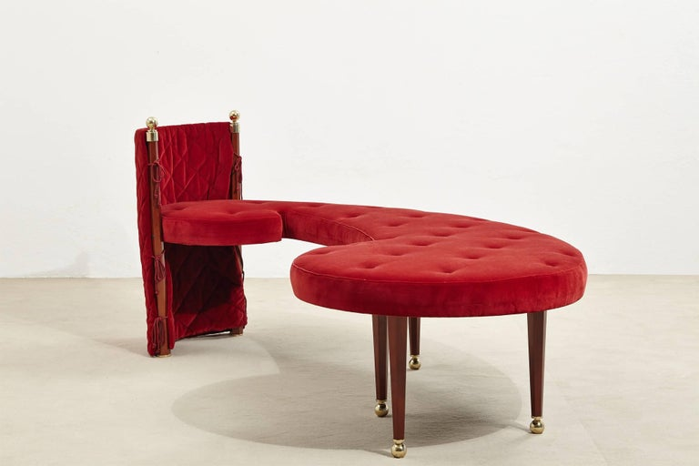 Three-Seat Red Velvet Bench by Jeannot Cerutti for Sawaya & Moroni, 1991 2