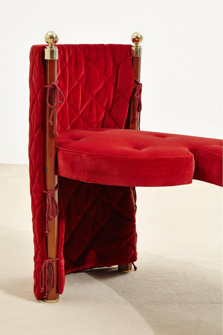 Three-Seat Red Velvet Bench by Jeannot Cerutti for Sawaya & Moroni, 1991 5