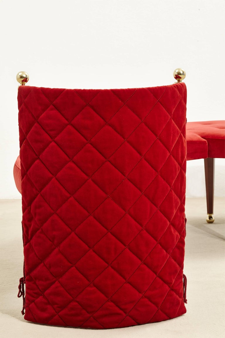 Three-Seat Red Velvet Bench by Jeannot Cerutti for Sawaya & Moroni, 1991 7